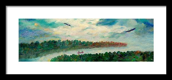 Canoeing On The Big Canadian Lakes Framed Print featuring the painting Exploring Our Lake by Naomi Gerrard