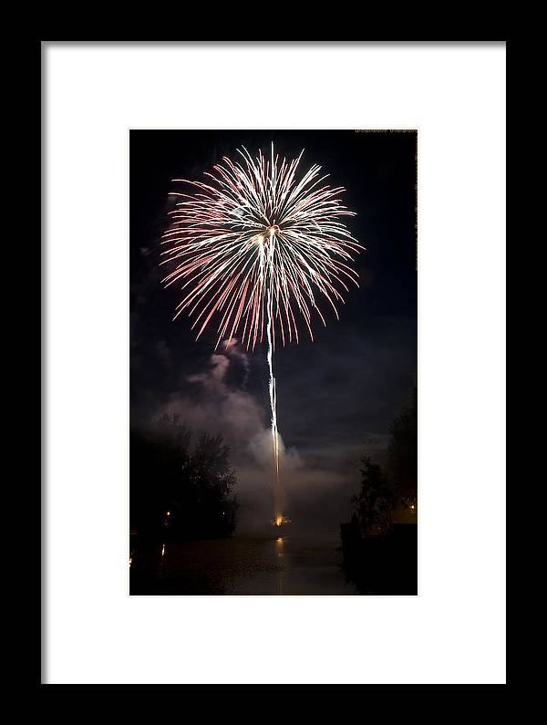 Fireworks Framed Print featuring the photograph Explosive Flowers 7 by Heinz - Juergen Oellers