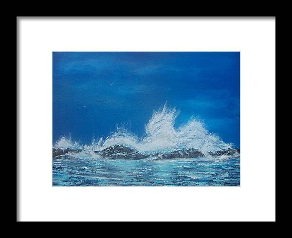 Seascape Framed Print featuring the painting Explosive Waves by Tony Rodriguez