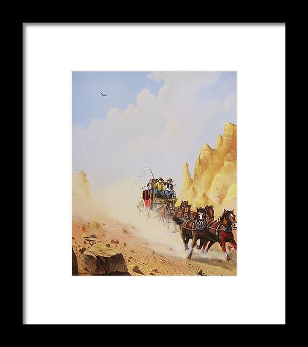 Western Framed Print featuring the painting Express Run by Don Griffiths