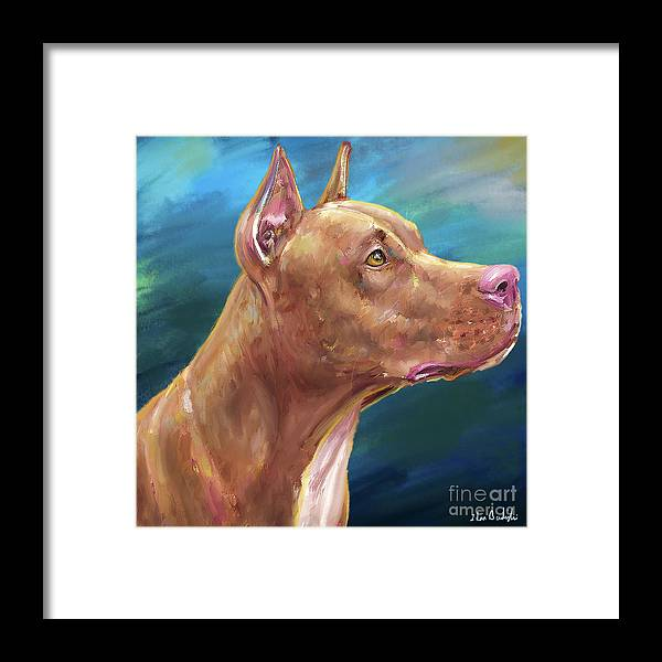 Dog Framed Print featuring the digital art Expressive Painting Of A Red Nose Pit Bull On Blue Background by Idan Badishi