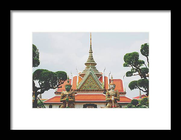 Architecture Framed Print featuring the photograph Exquisite Details On The Building Of Wat Arun In Bangkok, Thailand by Srdjan Kirtic