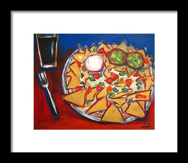 Food Framed Print featuring the painting Extra Guacamole by Albert Almondia