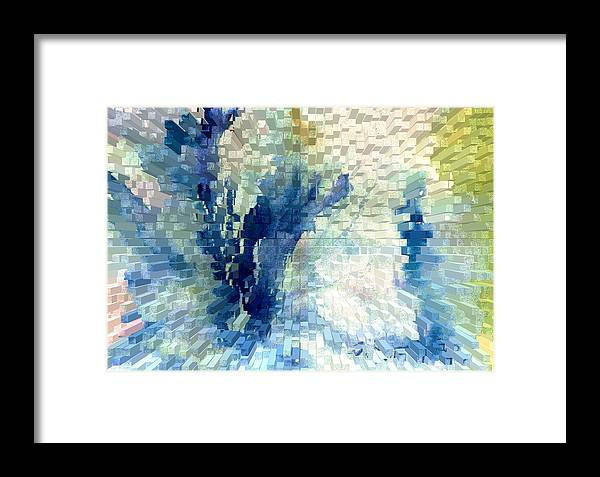 Abstract Framed Print featuring the painting Extrude by Steve Karol
