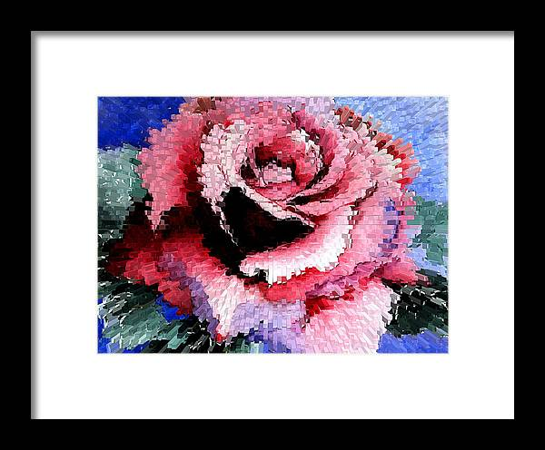 Rose Framed Print featuring the painting Extruded Rose by Mary Gaines