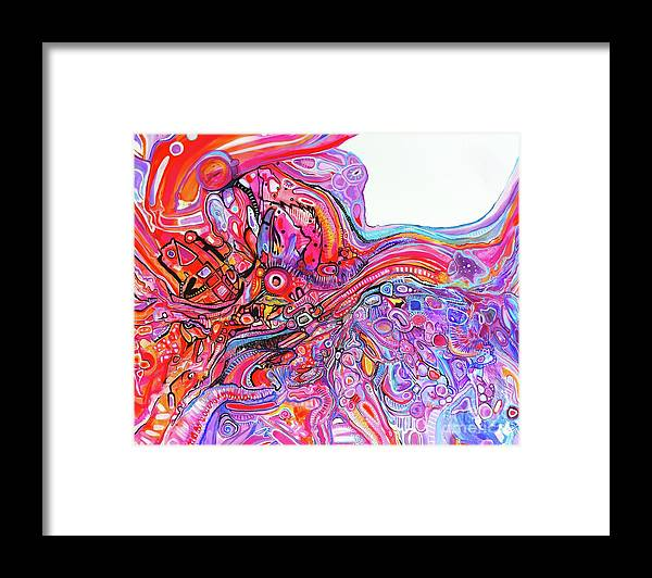 Original Artwork On Canvas Riotous Vibrant Abstract Expressionism Framed Print featuring the painting Exuberant Fun by Priscilla Batzell Expressionist Art Studio Gallery