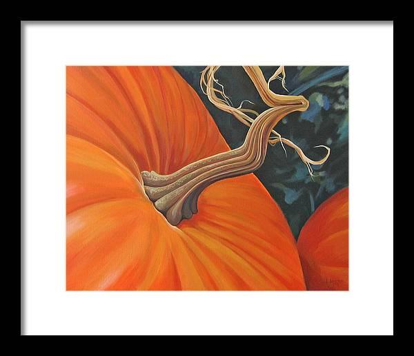 Closeup Of Pumpkin Framed Print featuring the painting Exuberant Pumpkin by Hunter Jay