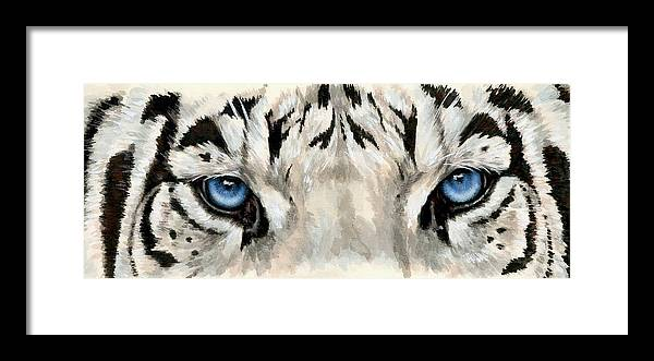 Big Cat Framed Print featuring the painting Royal White Tiger Gaze by Barbara Keith