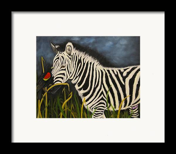 Wildlife Framed Print featuring the painting Eye Contact by Joni McPherson