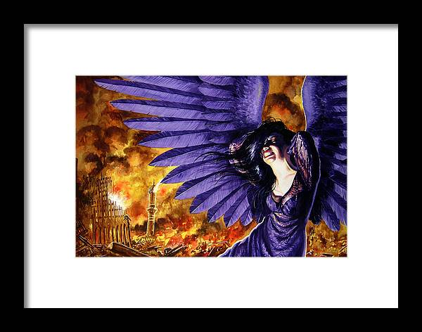 Political Commentary Framed Print featuring the painting Eye For An Eye by Ken Meyer