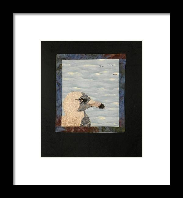 Birds Framed Print featuring the tapestry - textile Eye Of The Gull by Jenny Williams
