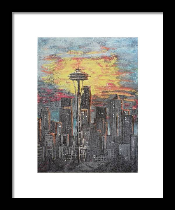 Sunset Cloudy Sky Framed Print featuring the painting Eye On The Needle by Dan Bozich