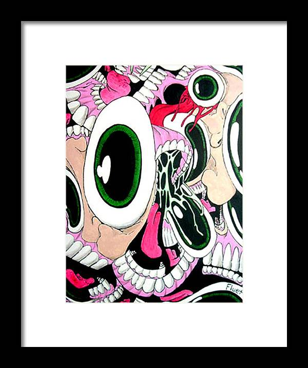 Drawing Framed Print featuring the painting Eye Sore by Dan Fluet