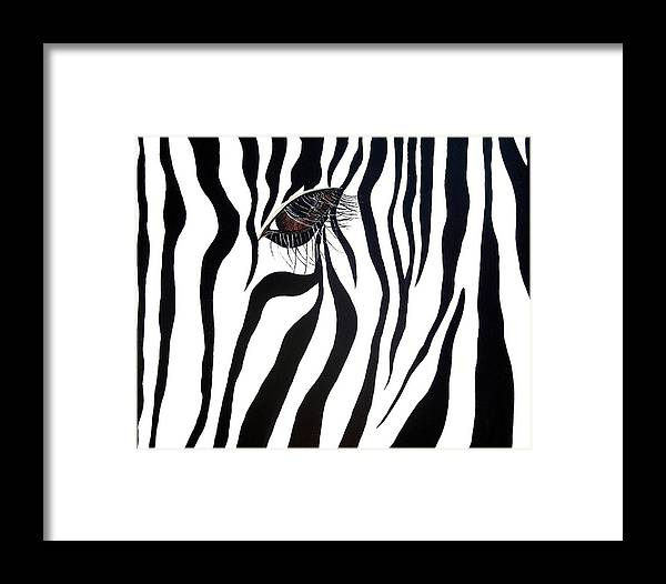 Zebra Framed Print featuring the painting Eye Spy by Sharon Supplee