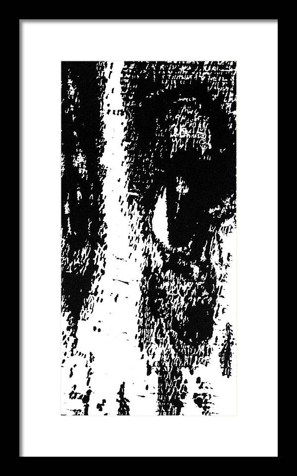 Black Framed Print featuring the painting Eyes No. 1 -- Hand-pulled Wood Cut by Lynn Evenson