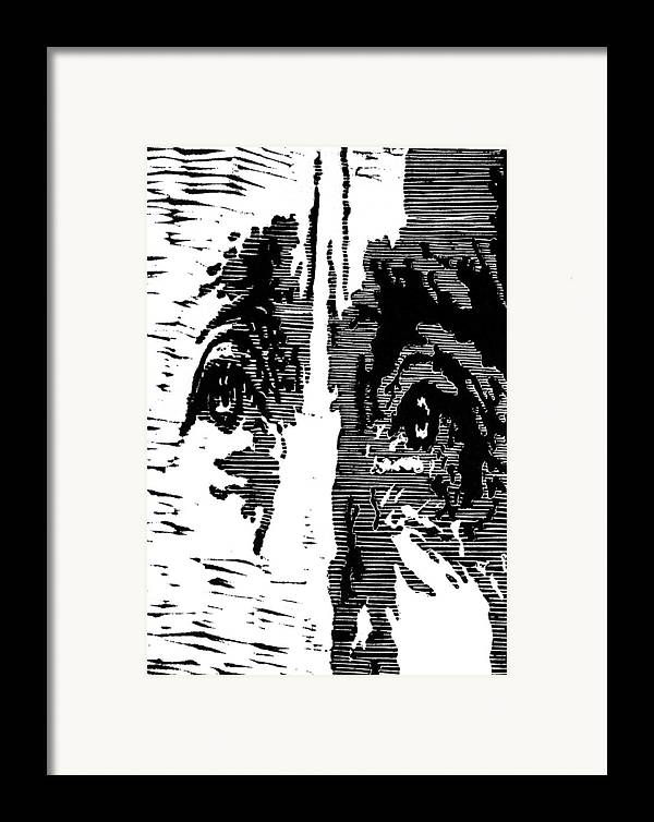 Black Framed Print featuring the painting Eyes No. 2 -- Hand-pulled Linoleum Cut by Lynn Evenson