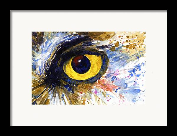 Owls Framed Print featuring the painting Eyes Of Owl's No.6 by John D Benson