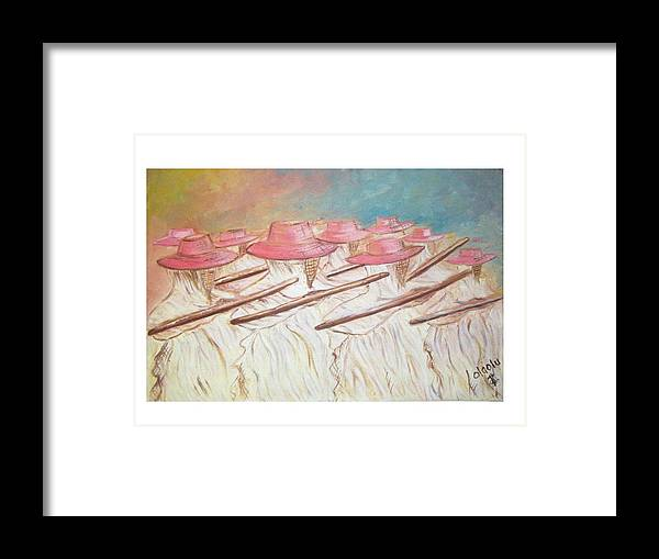 Abstract Framed Print featuring the painting Eyo Festival by Olaoluwa Smith