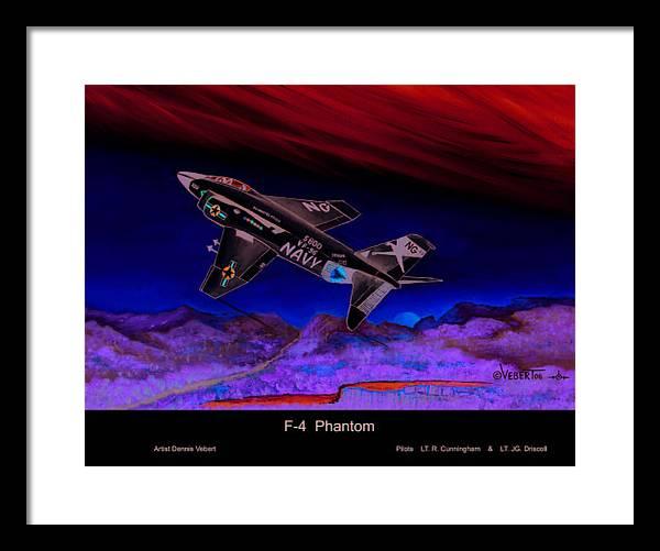 War Plane Framed Print featuring the painting F-4 Phantom by Dennis Vebert