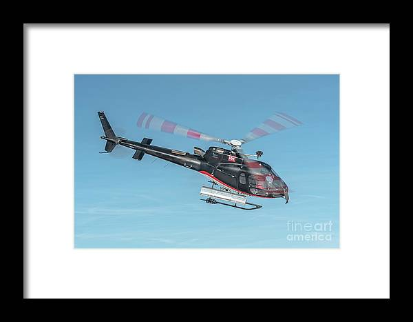Eurecuil Framed Print featuring the photograph F-gsdg Eurocopter As350 Helicopter In Blue Sky by Roberto Chiartano