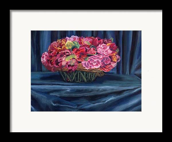 Flowers Framed Print featuring the painting Fabric And Flowers by Sharon E Allen