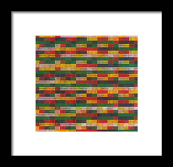 Abstract Pattern Green Red Yellow White Framed Print featuring the painting Fac5-horizontal by Joan De Bot
