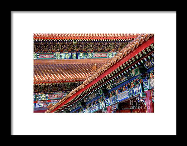 Architecture Framed Print featuring the photograph Facade Painting Inside The Forbidden City In Beijing by Julia Hiebaum
