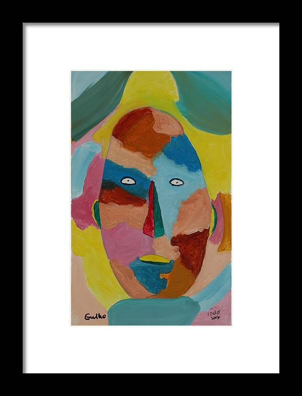 Mask Framed Print featuring the painting Face In Limbo by Harris Gulko