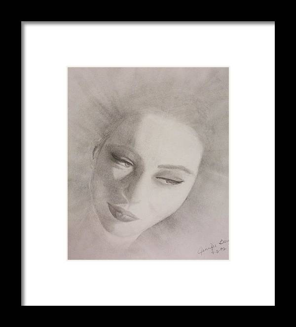 Portrait Framed Print featuring the drawing Face by Jennifer Hernandez