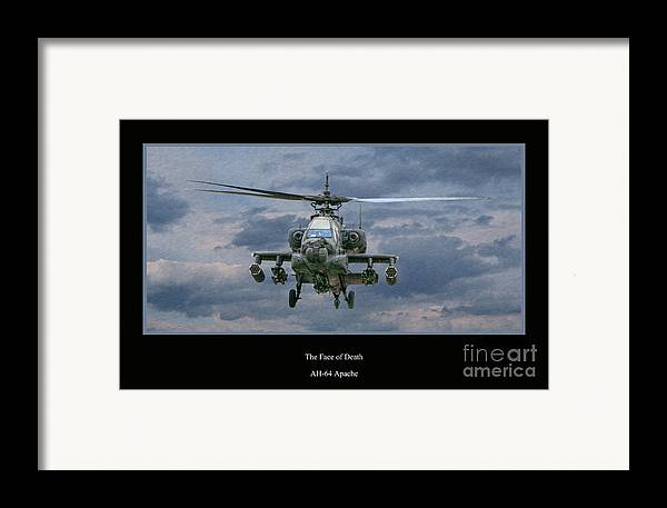 Apache Sunset Framed Print featuring the digital art Face Of Death Ah-64 Apache Helicopter by Randy Steele