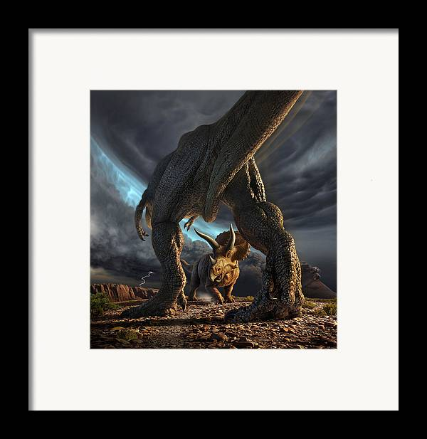 Dinosaur Framed Print featuring the digital art Face Off by Jerry LoFaro