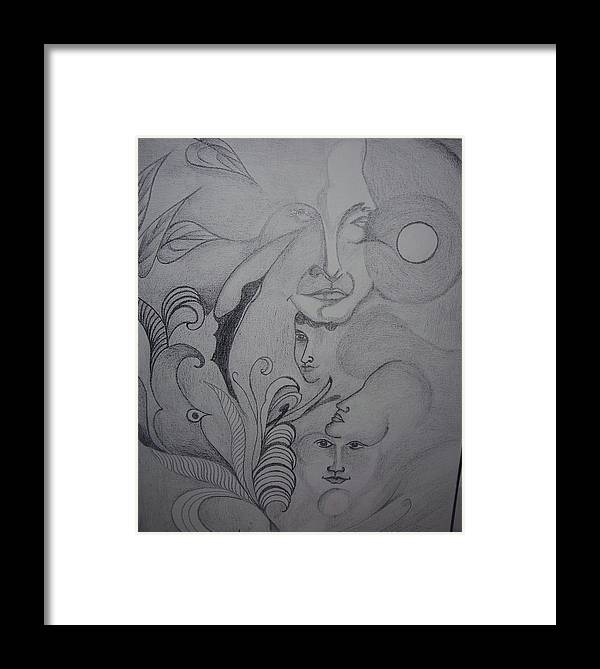 Facial Expression Framed Print featuring the drawing Face To Face by Mita Pradhan