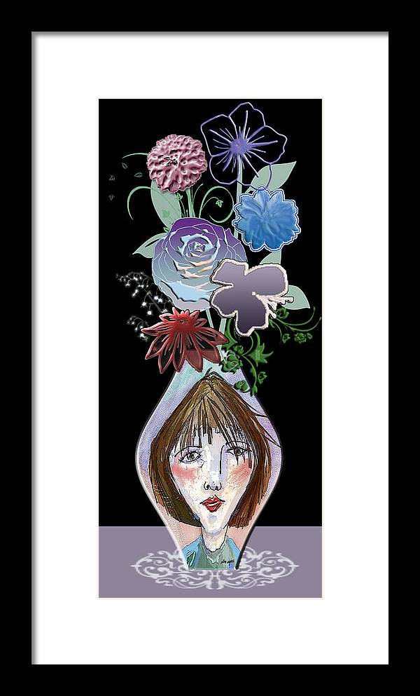 Flowers Framed Print featuring the digital art Face Vase by Arline Wagner