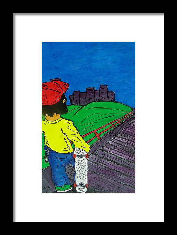 City Framed Print featuring the painting Face Your Fears by Mike Naze
