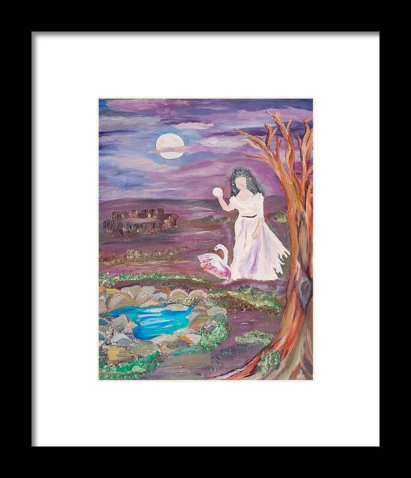 Woman Framed Print featuring the painting Faceless Wishing Well by Mikki Alhart