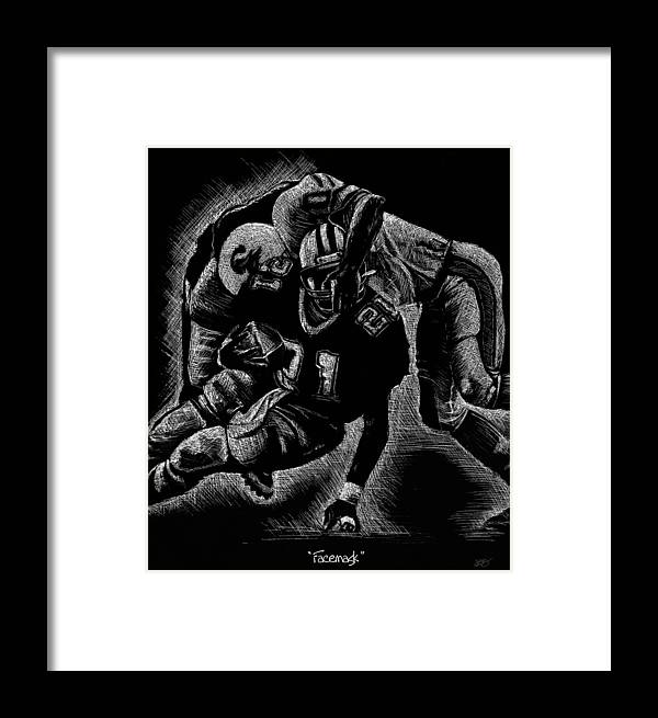 Facemask Framed Print featuring the drawing Facemask by Sharon Crawford