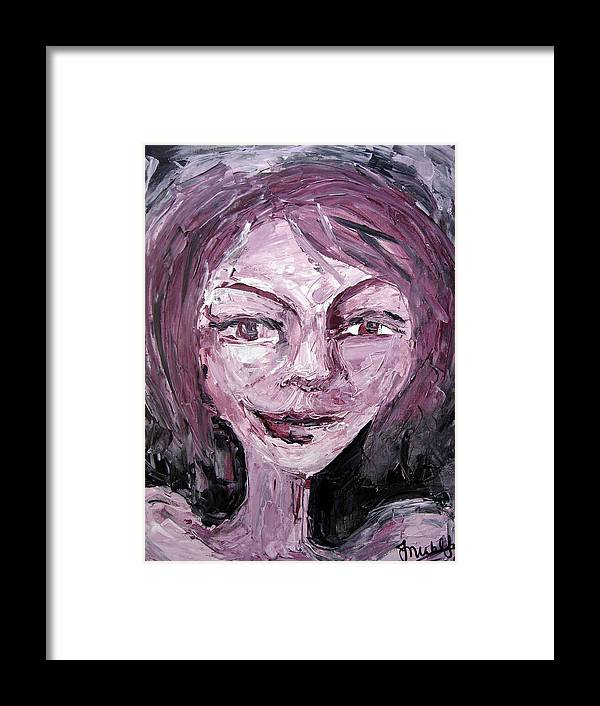 Portrait Woman Female Framed Print featuring the painting Faces 1 by Jenni Walford