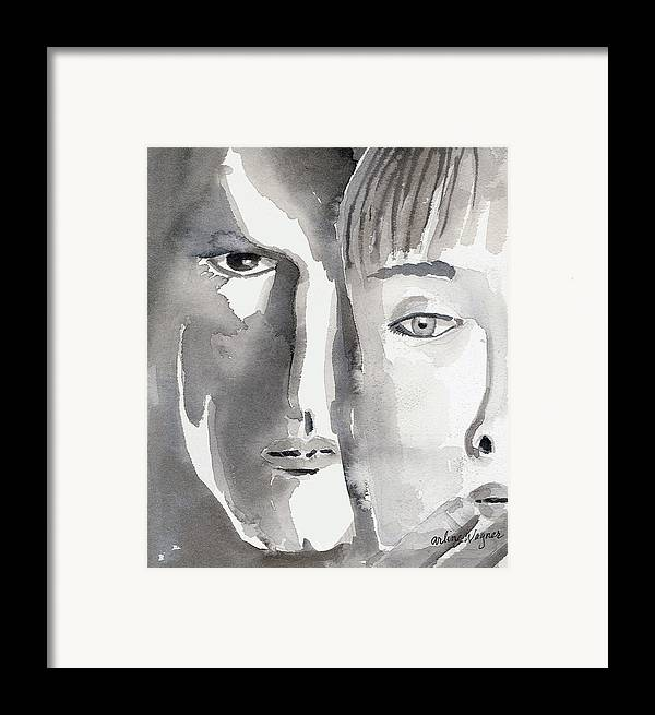 Faces Framed Print featuring the painting Faces by Arline Wagner