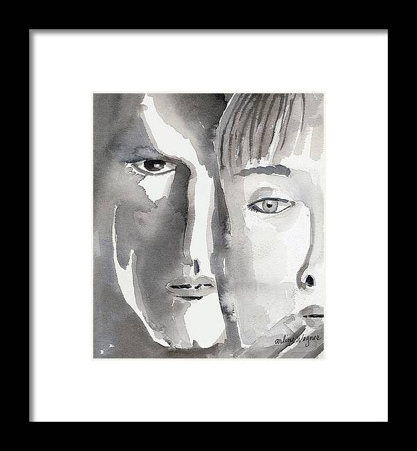 Faces Framed Print featuring the painting Faces by Suzanne Blender