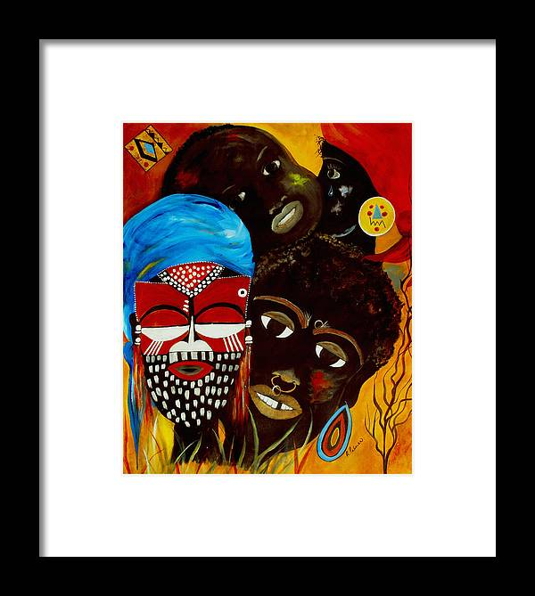 Abstract Framed Print featuring the painting Faces Of Africa by Ruth Palmer