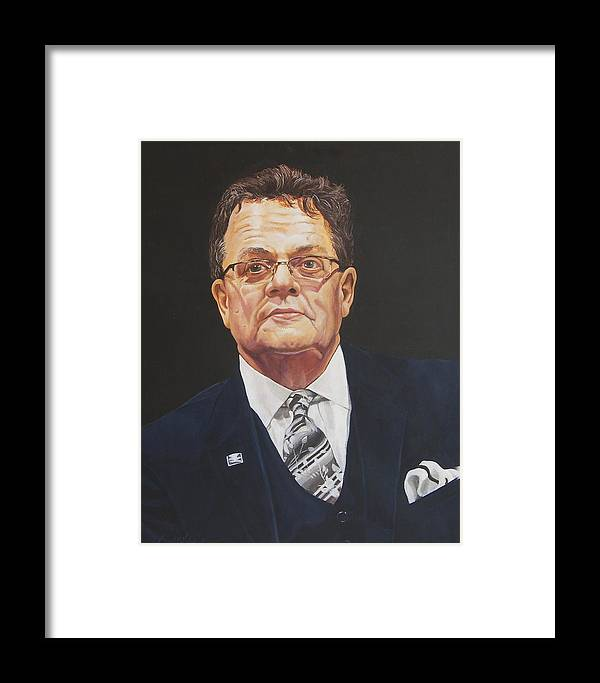 Faces Of Oroville Framed Print featuring the painting Faces Of Oroville - Jim Moll by Kenneth Kelsoe