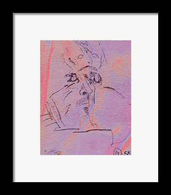 Abstract Framed Print featuring the mixed media Faces Of Trivia by Steve Karol