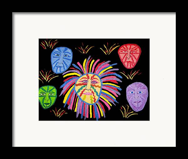 Framed Print featuring the painting Faces Out Of The Dark by Betty Roberts