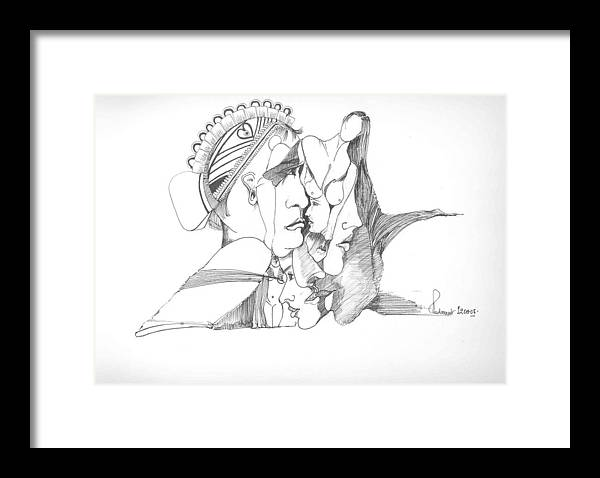 Faces Framed Print featuring the drawing Faces patterns and the human form by Padamvir Singh