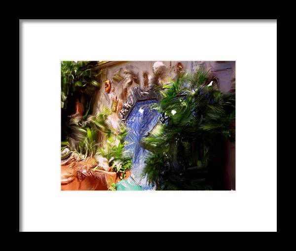 Framed Print featuring the painting Facesonthewall by Jonathan Galente
