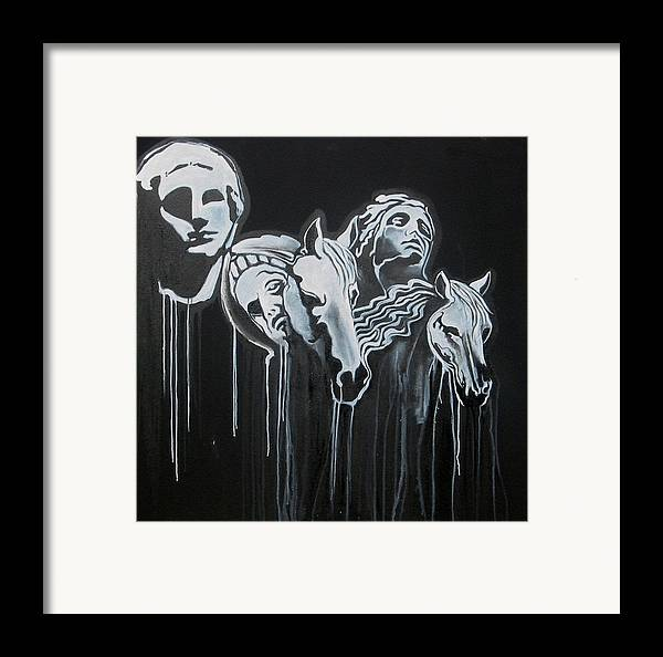 B/w Framed Print featuring the painting Fade To Black And Remember Back... by Stephen Barry