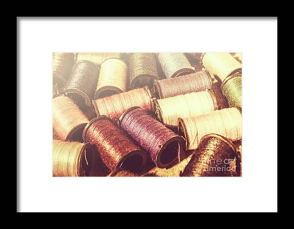 Cotton Framed Print featuring the photograph Faded Dressmaking Details by Jorgo Photography - Wall Art Gallery