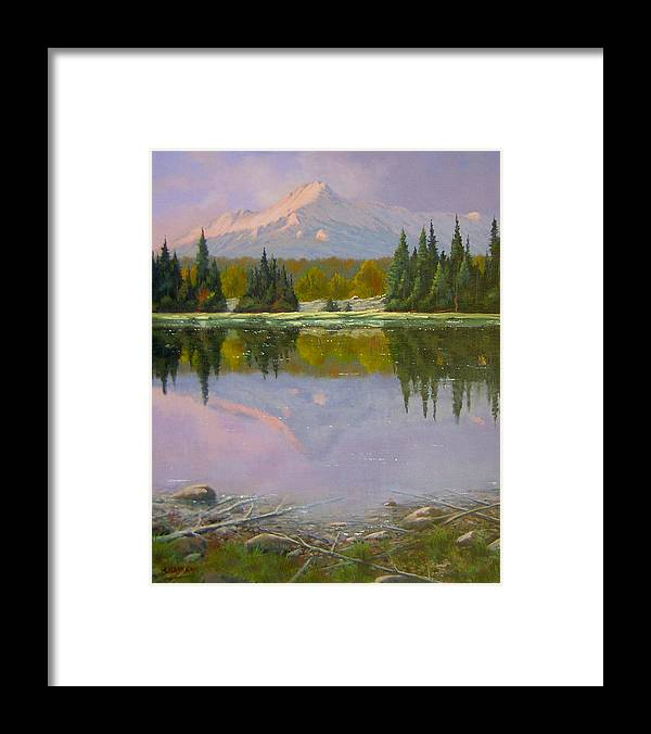 Landscape Framed Print featuring the painting Fading Light - Peaceful Moment by Kenneth Shanika