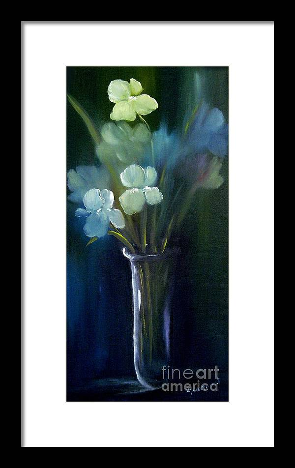 Iris Framed Print featuring the painting Fading Memories by Carol Sweetwood