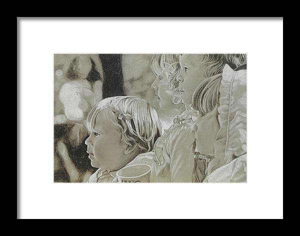 Charcoal Framed Print featuring the drawing Fair Faces by Jennifer Bonset